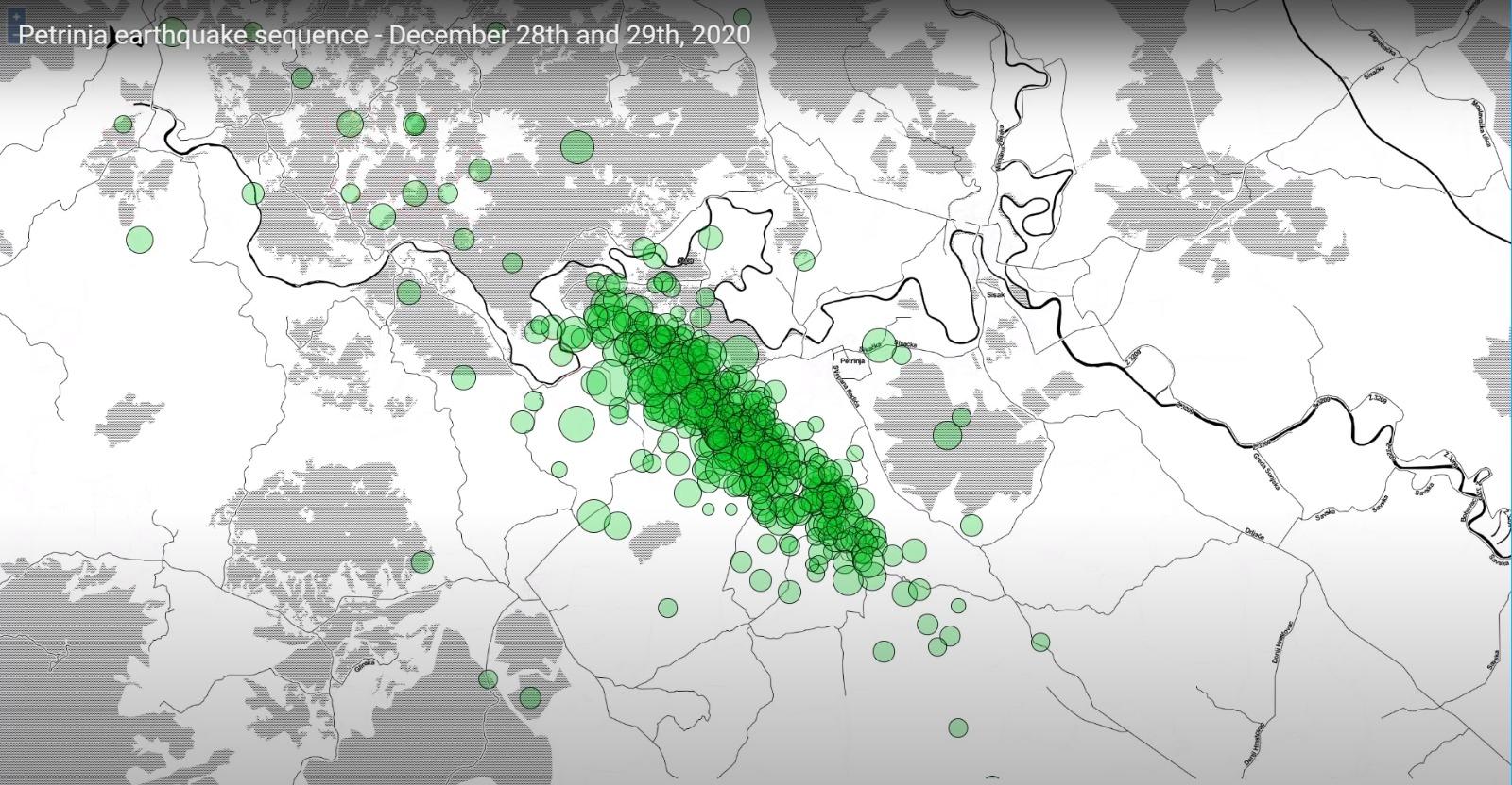 Potresi Kod Petrinje Za 28 I 29 Prosinac 2020 Godine Izvjesca O Potresima Geofizicki Odsjek